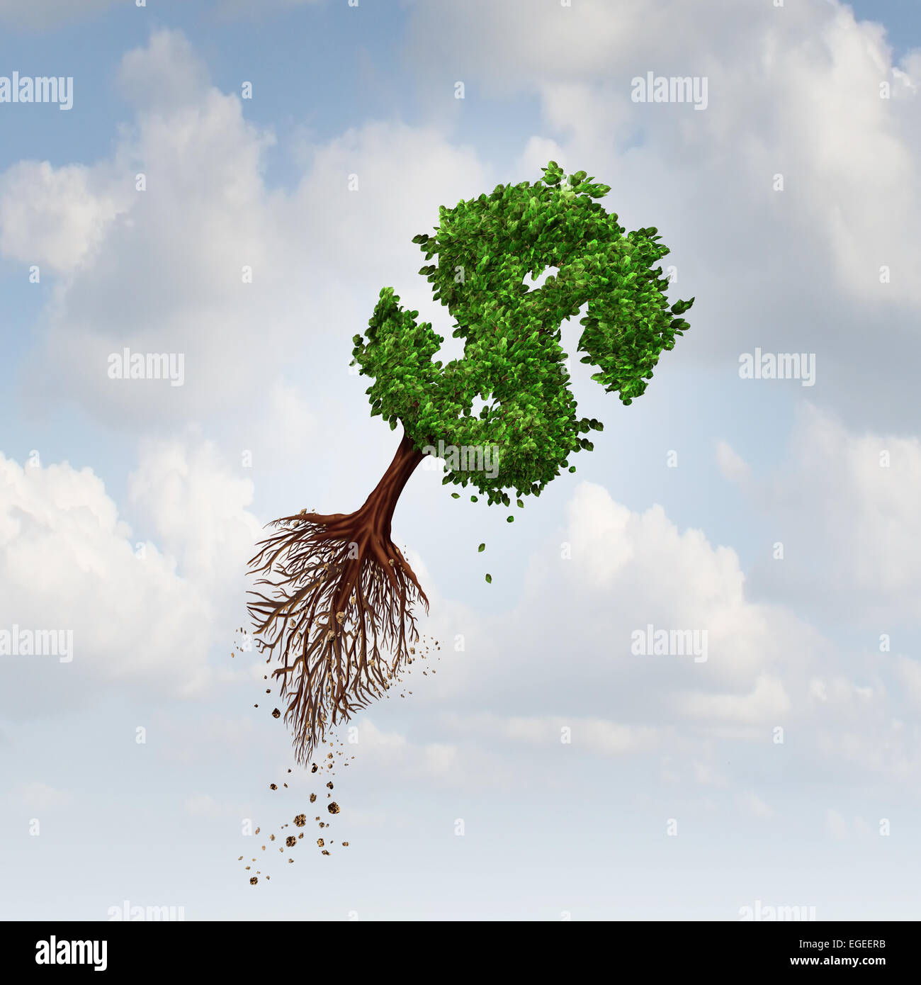 Money Flight business concept as a flying tree with uprooted roots shaped as a dollar sign as a symbol for financial - Stock Image