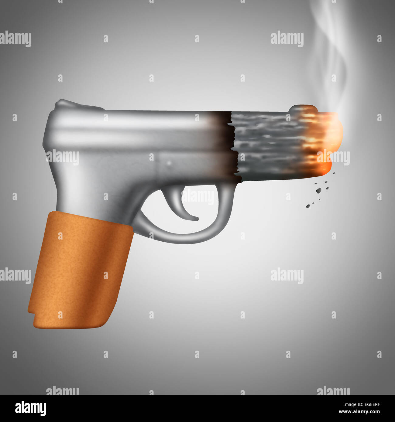Smoking Cigarette concept as a tobacco product shaped as a lethal handgun or pistol as a health care metaphor and - Stock Image