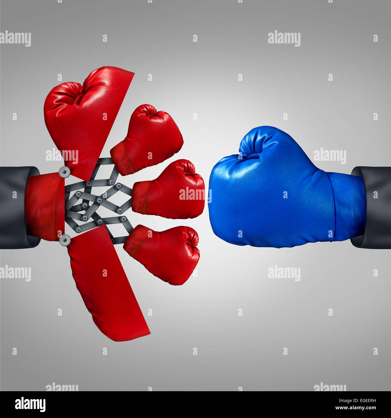Strategy advantage and business competitiveness concept as a red boxing glove opening up to a secret weapon to reveal - Stock Image
