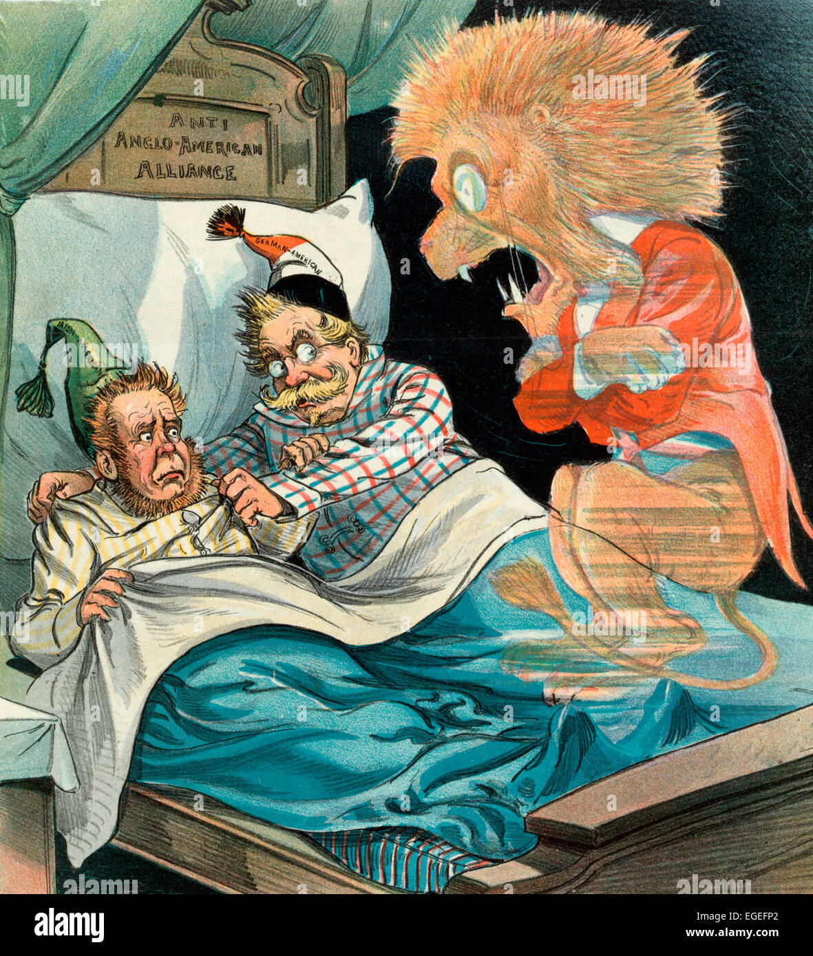 Politics makes strange bedfellows - The ghost of the British Lion reacting with fear at finding an 'Irish American' - Stock Image