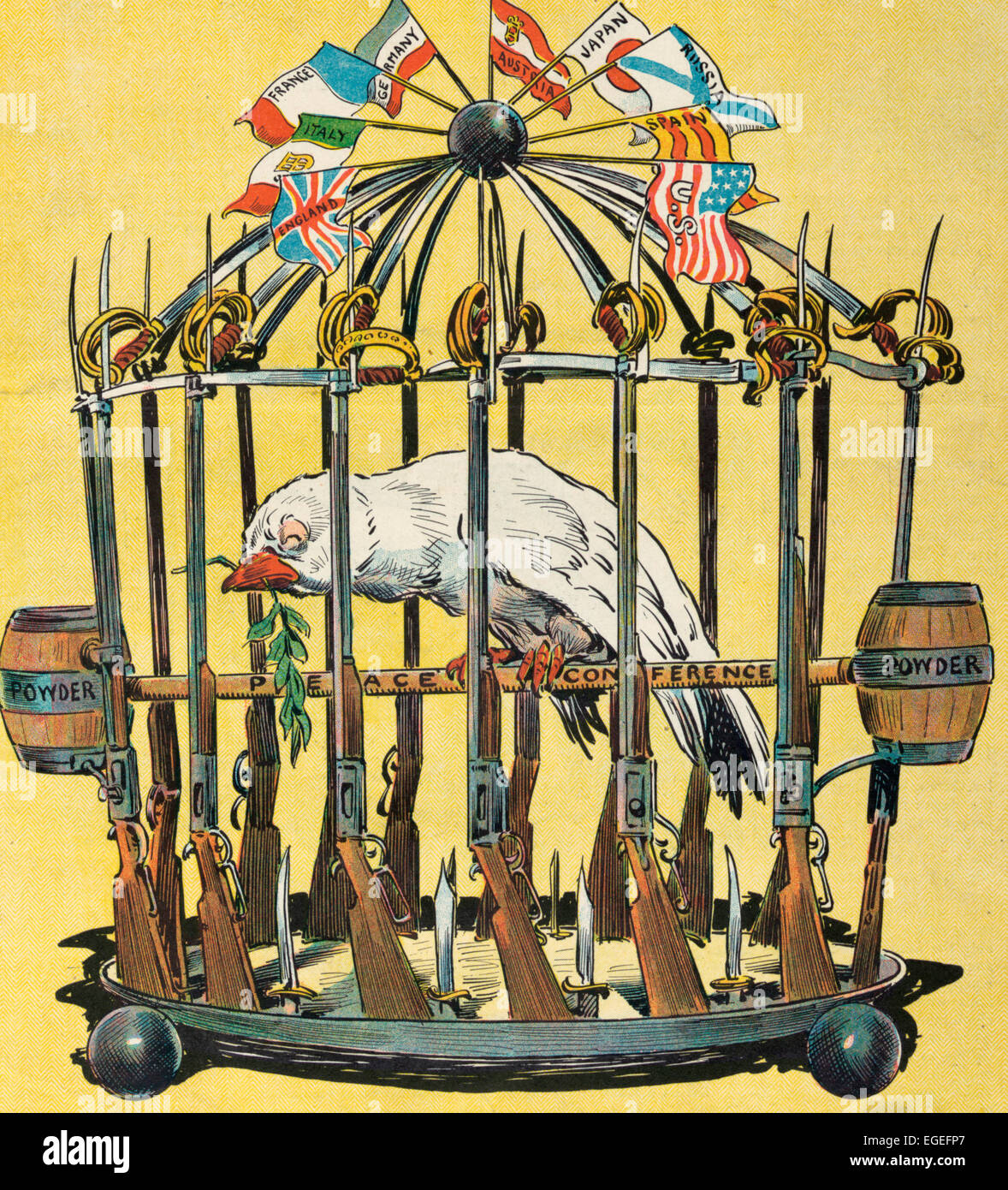 Caged - Illustration shows a sickly looking dove in a birdcage fashioned from rifles and swords, with 'Powder' - Stock Image