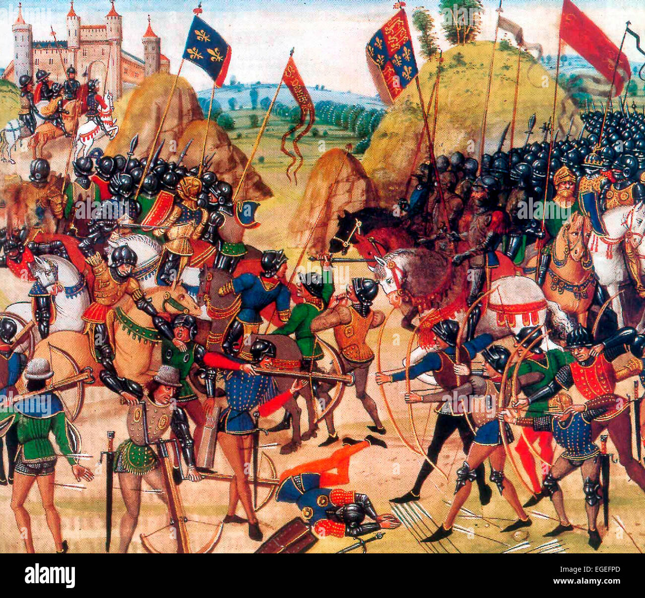 Battle of Crécy between the English and French in the Hundred Years' War. The victorious English are on - Stock Image