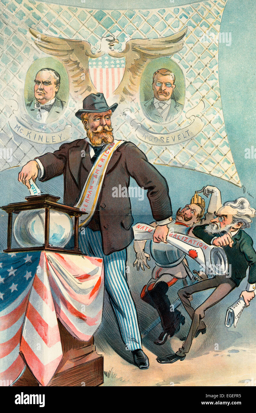 The Real German American - He does his Own Thinking and will do his own voting - German American man standing in - Stock Image