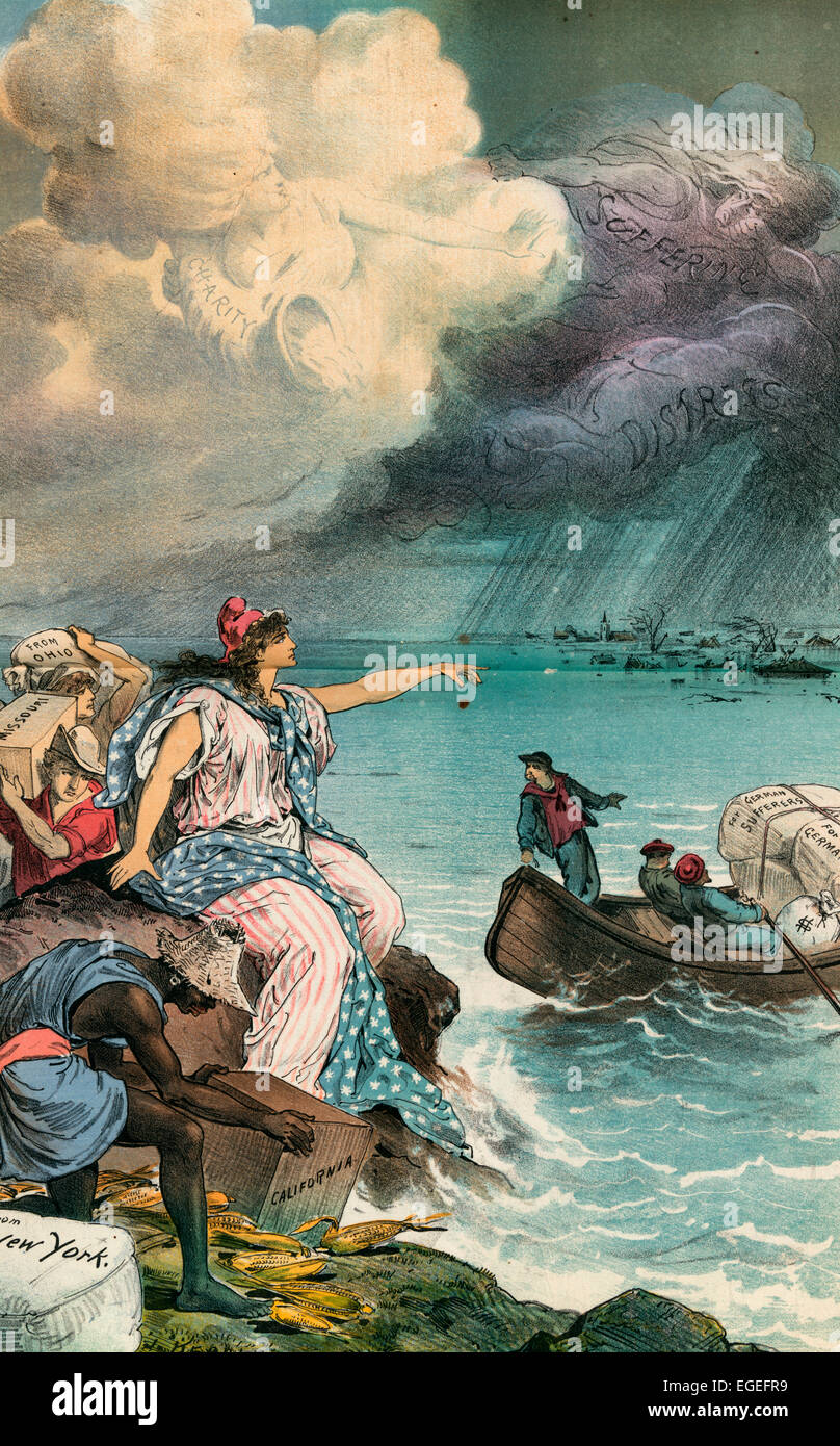 The Great Floods of 1883 - Germany's need and America's Aid.  Illustration shows Columbia sitting on a rock - Stock Image