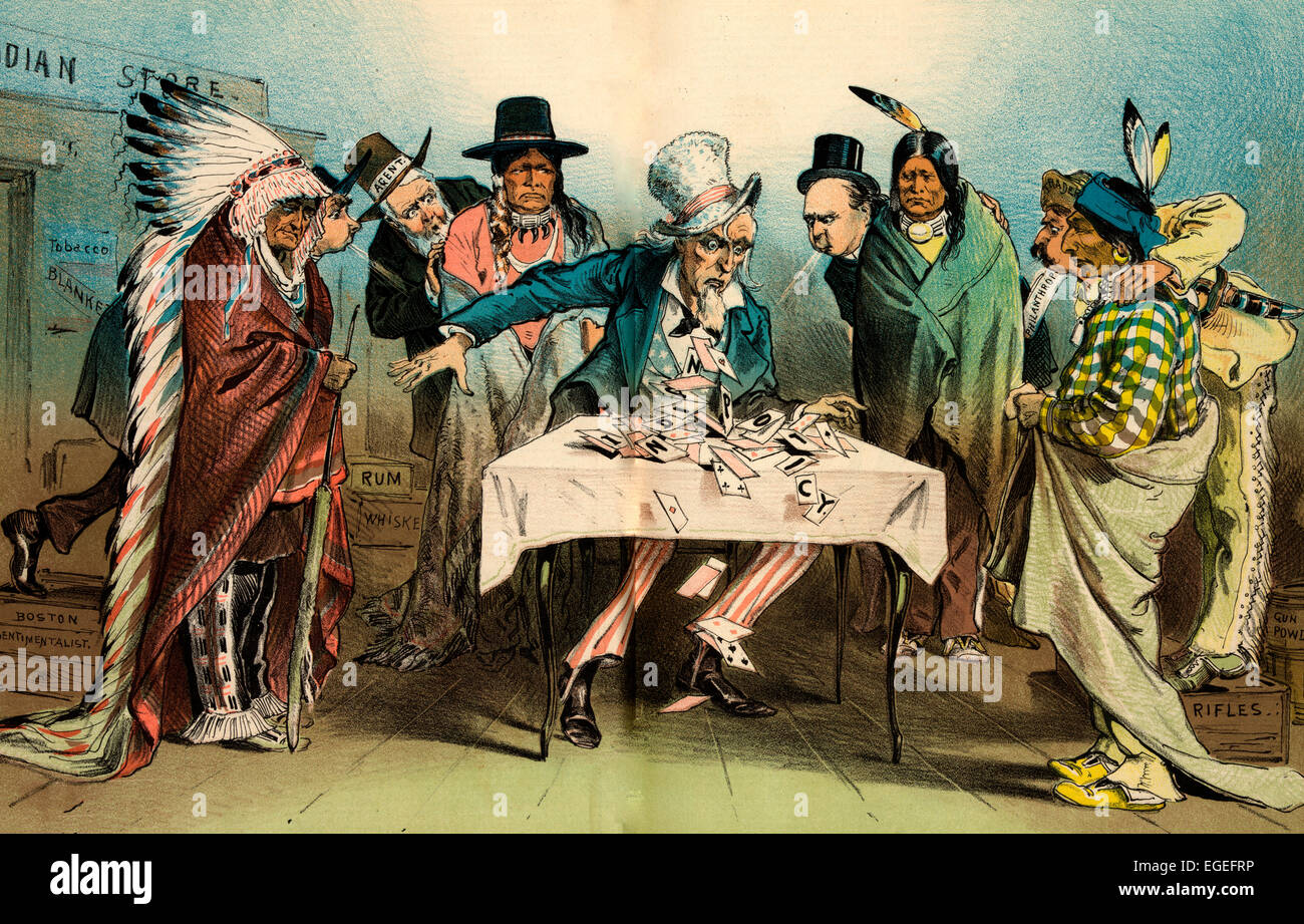 Our Indian Policy - House of Cards. Uncle Sam sitting at a table outside an 'Indian Store' with Natives - Stock Image