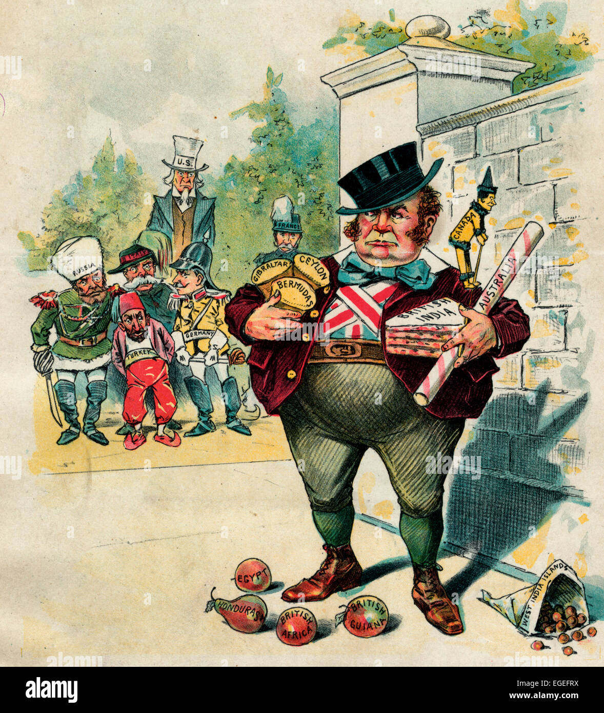 Greedy Johnnie - He has got a lot of good things - but how long can he keep them to himself. John Bull standing - Stock Image