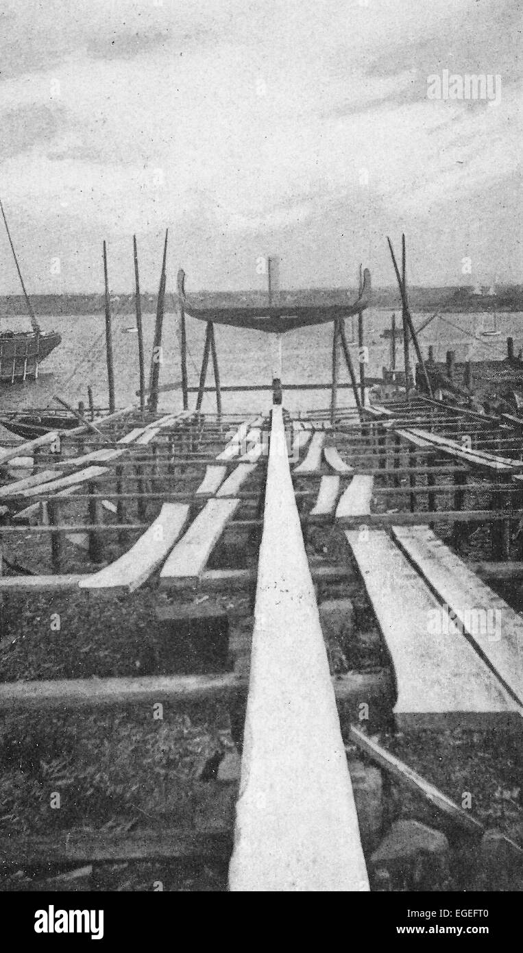 A newly laid keel at the Snow yard, Rockland, Maine  1916 - Stock Image