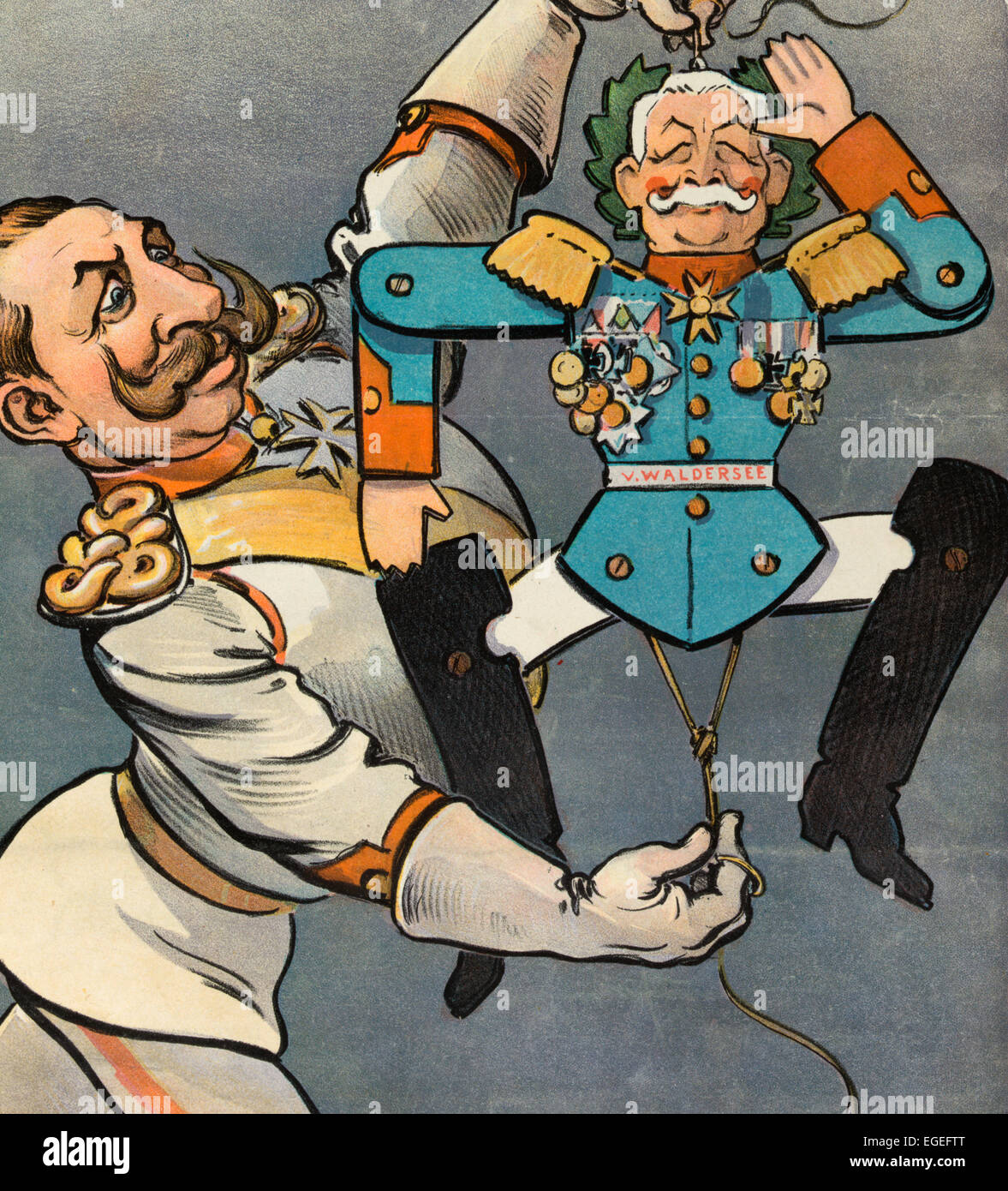 His First War Hero - Illustration shows the German Emperor Wilhelm II holding the strings to a wooden jumping toy - Stock Image
