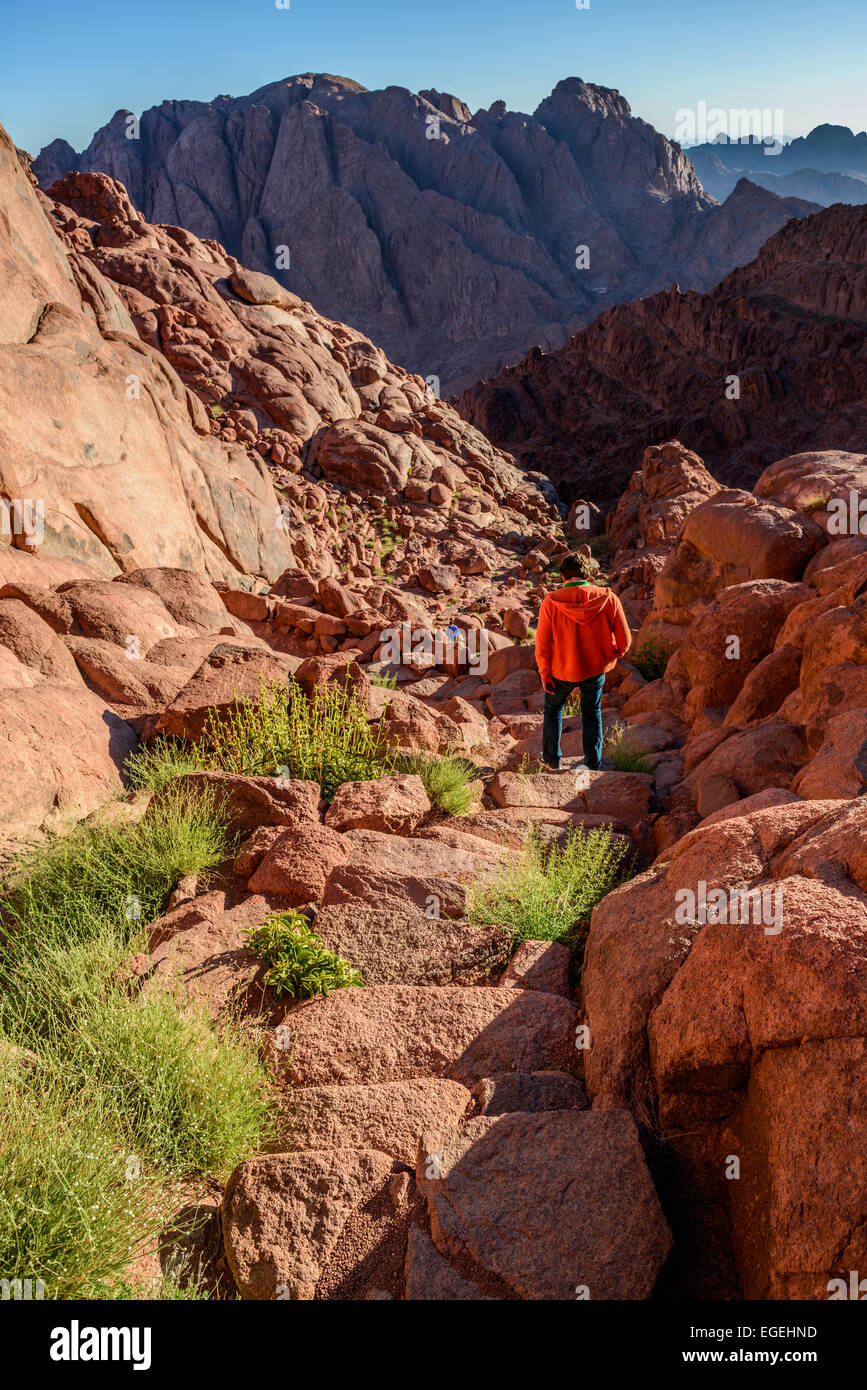 Young man descends from Mount Sinai to St Catherine monastery after meeting sunrise at the mountain - Stock Image