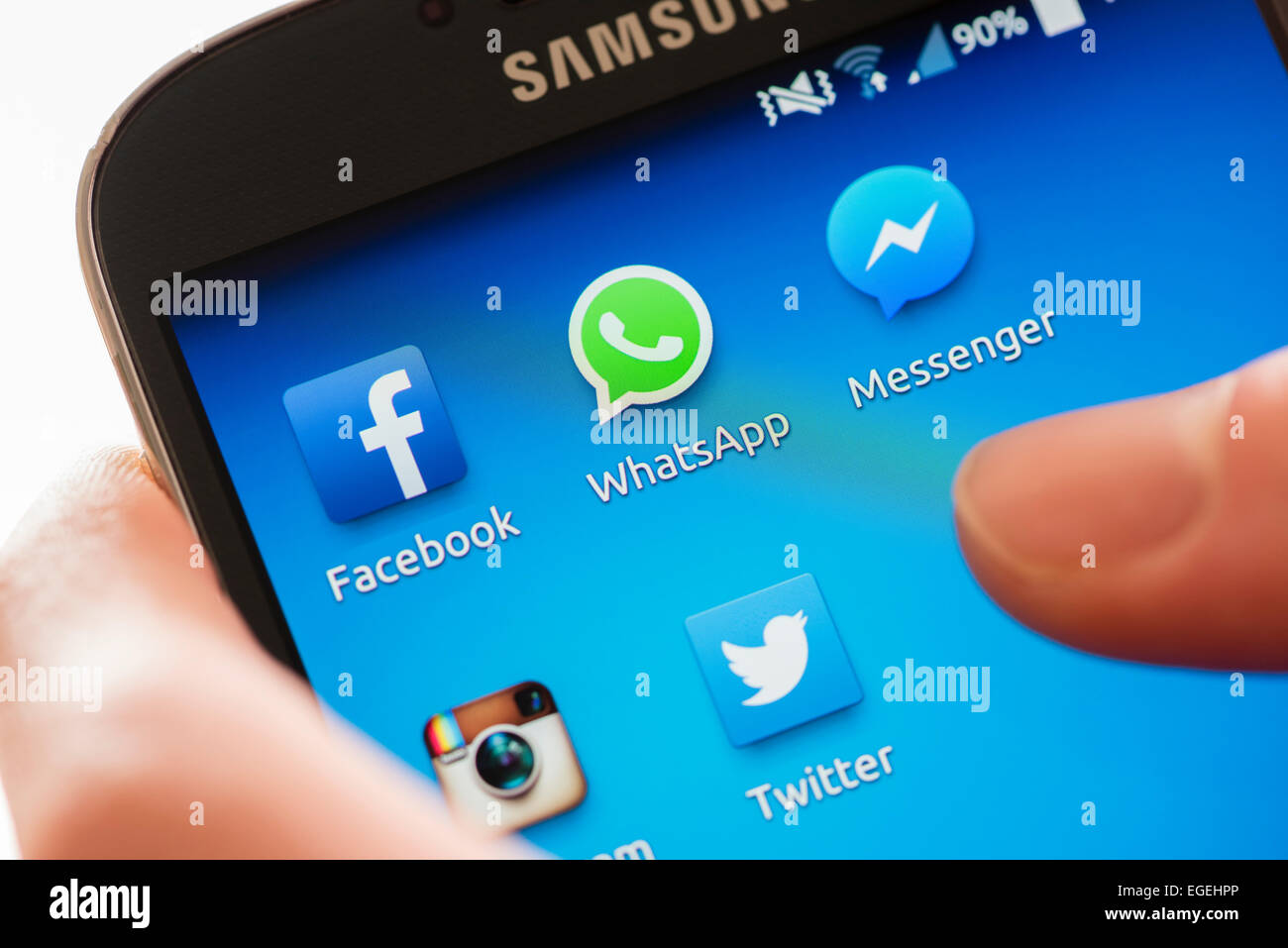 Icon of 'WhatsApp' and other social media communication apps on a Samsung Galaxy smartphone's touchscreen - Stock Image