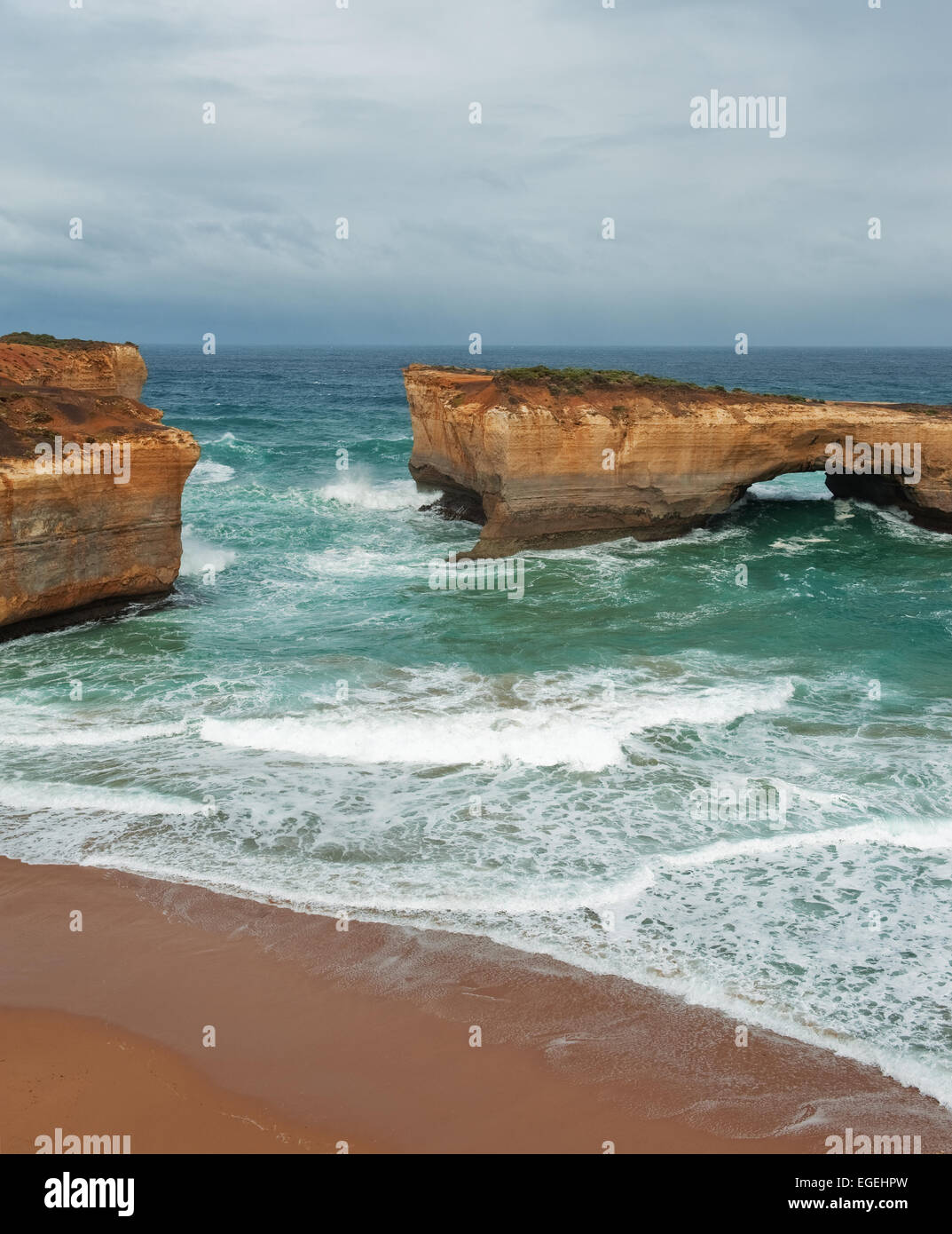 Famous rocks London Bridge in the storm weather,Great Ocean Road, Australia - Stock Image