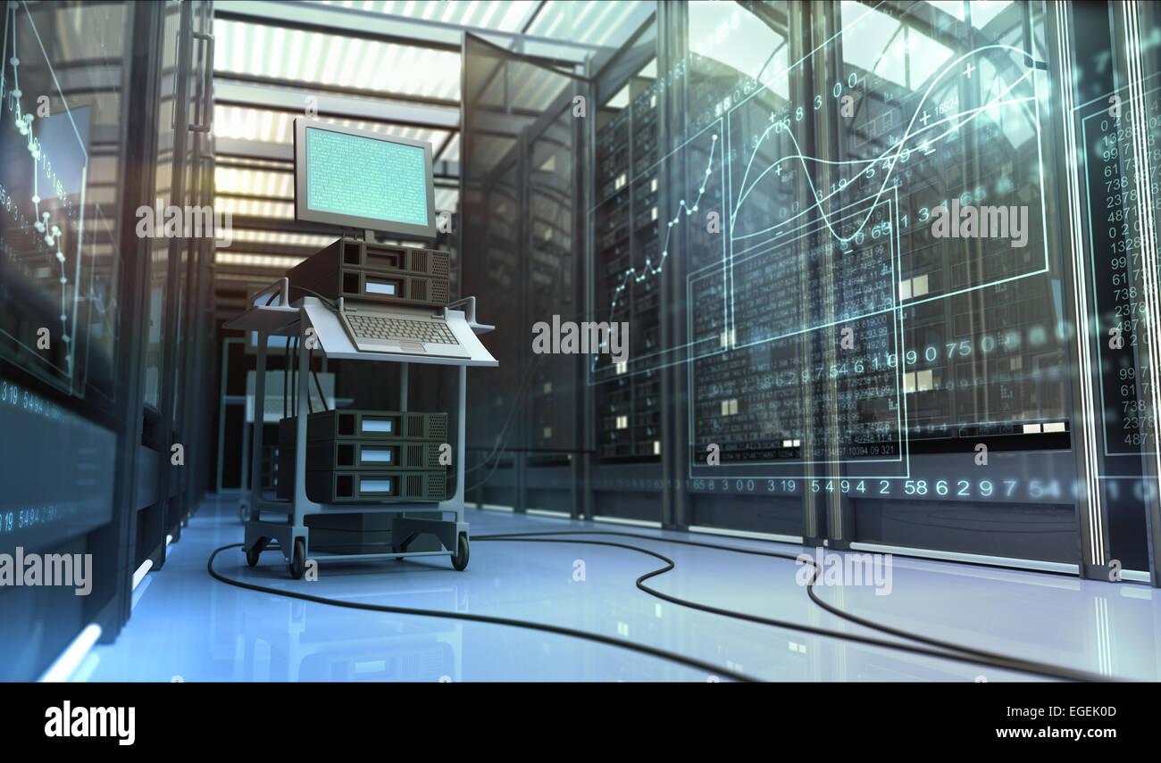 Hardware in the server room.  Diagnostics. - Stock Image