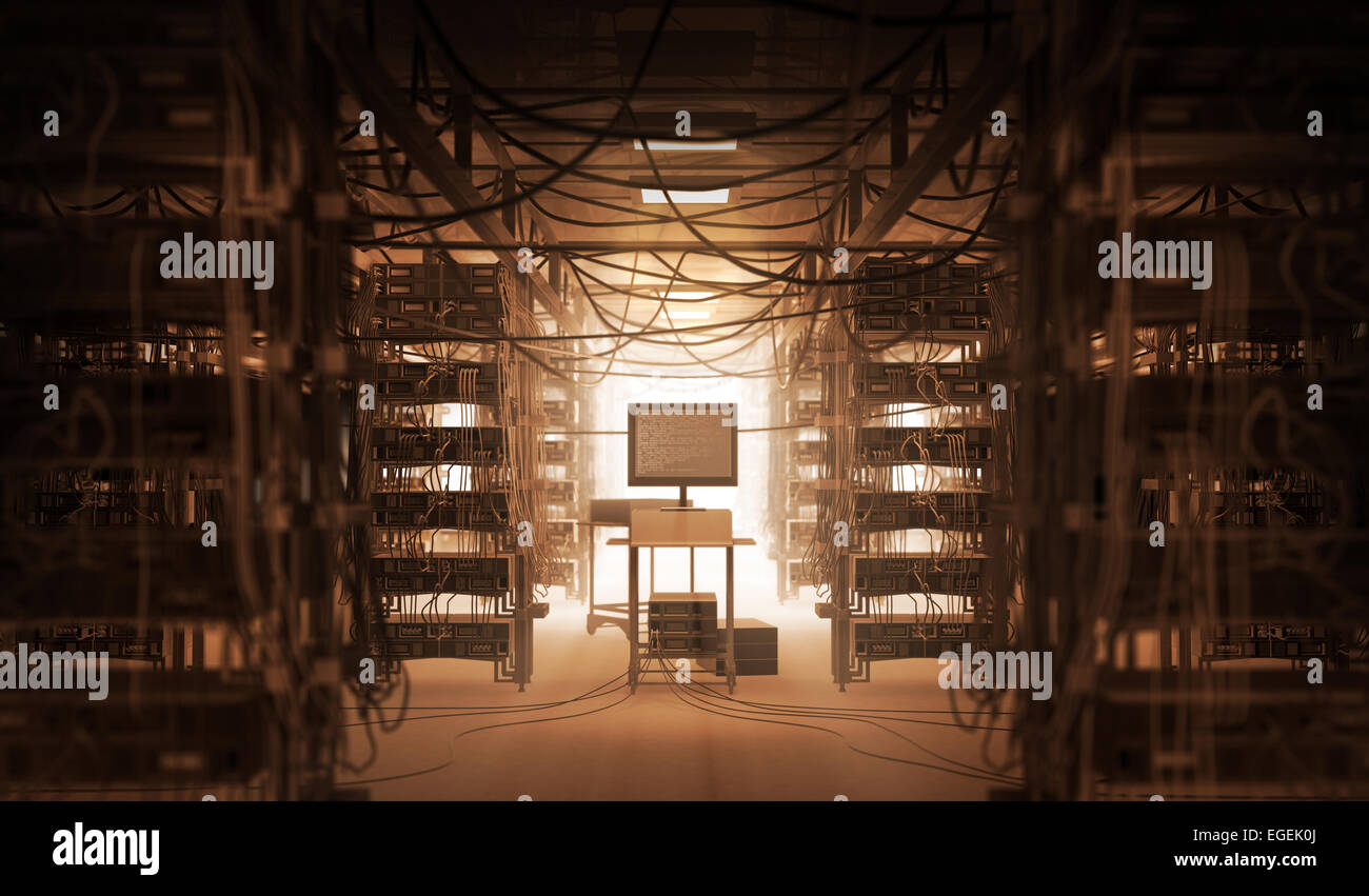 Chaos in the server room - Stock Image