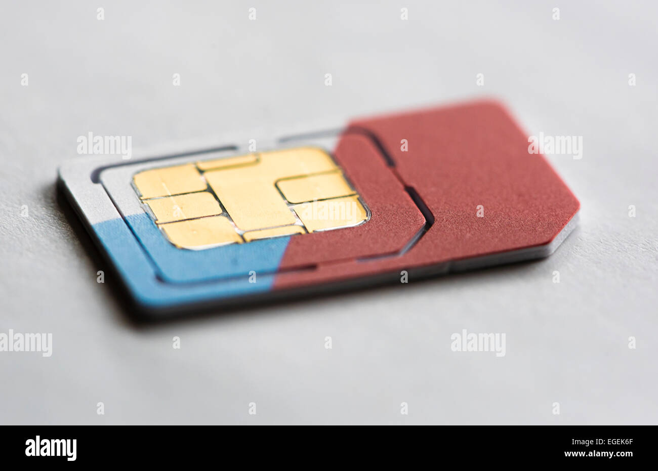Close up of a SIM-card (subscriber identity module card) for mobile phones. - Stock Image