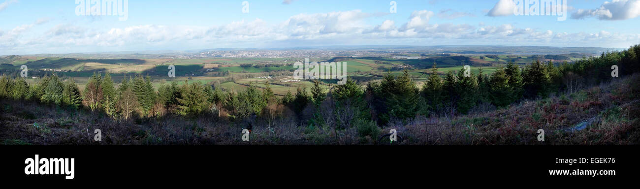 Exeter and the estuary of the River Exe from Haldon Hill, Devon, UK - Stock Image
