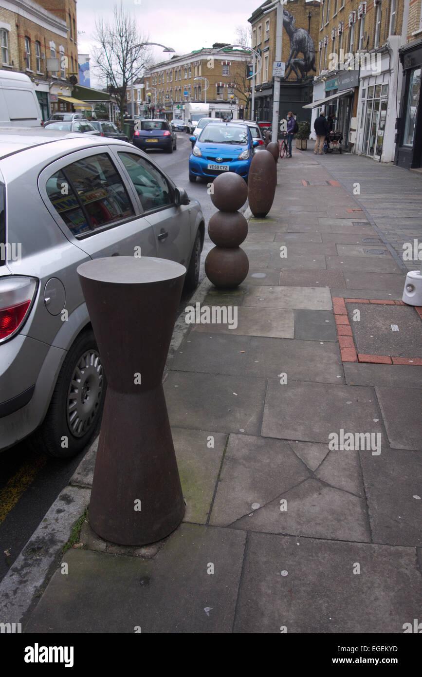 Bollards - street furniture by Anthony Gormley - Stock Image