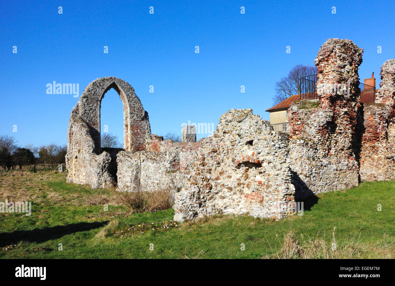 A view of ruins to the west at Leiston Abbey, Suffolk, England, United Kingdom. - Stock Image