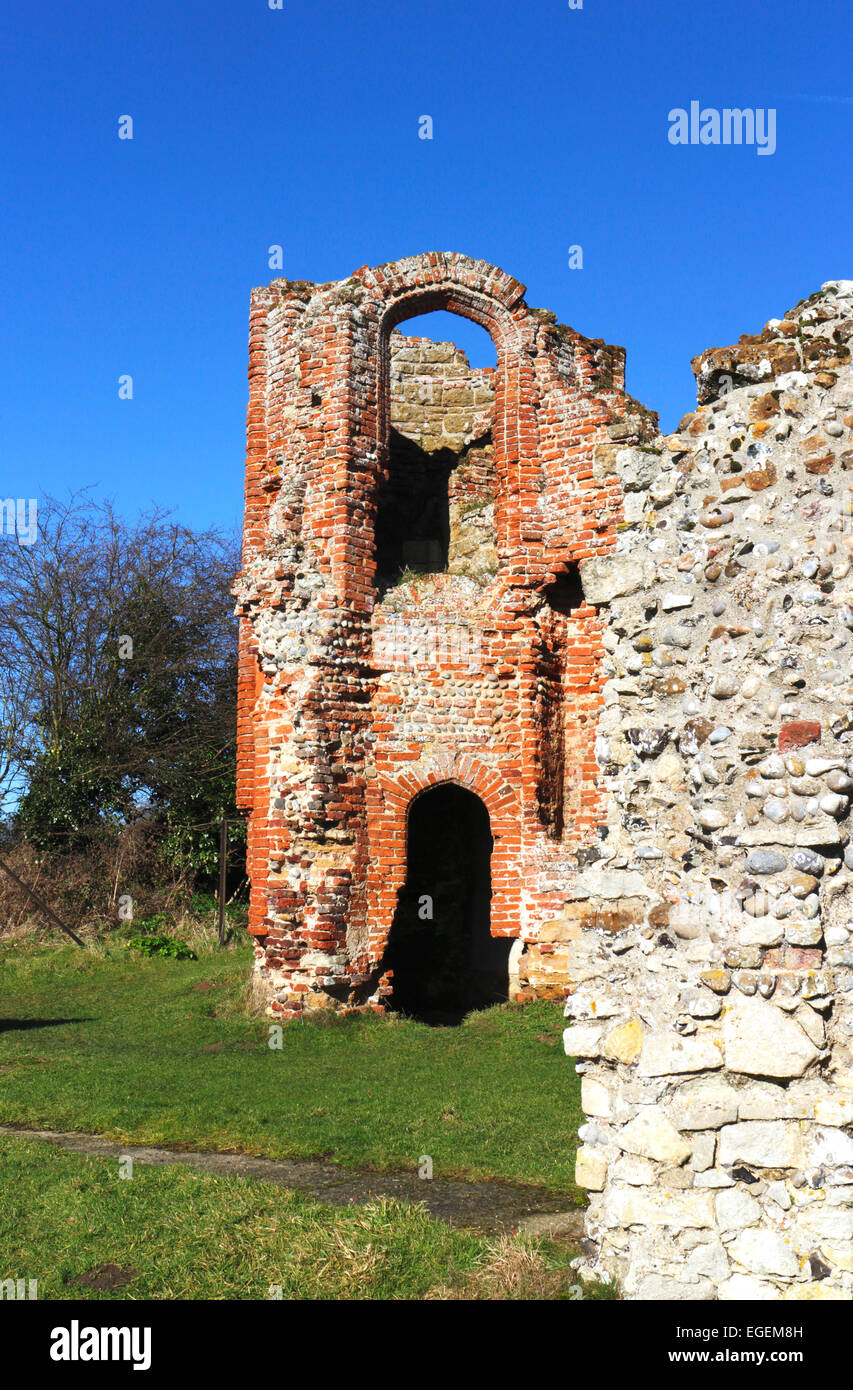 A view of part of the ruined gatehouse at Leiston Abbey, Suffolk, England, United Kingdom. - Stock Image