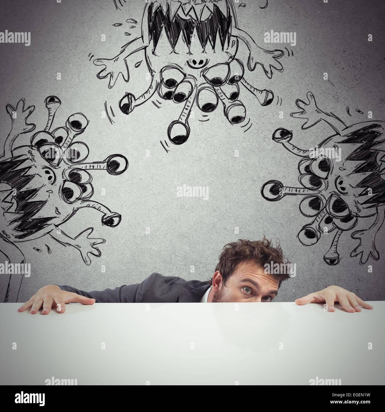 Man hides virus - Stock Image