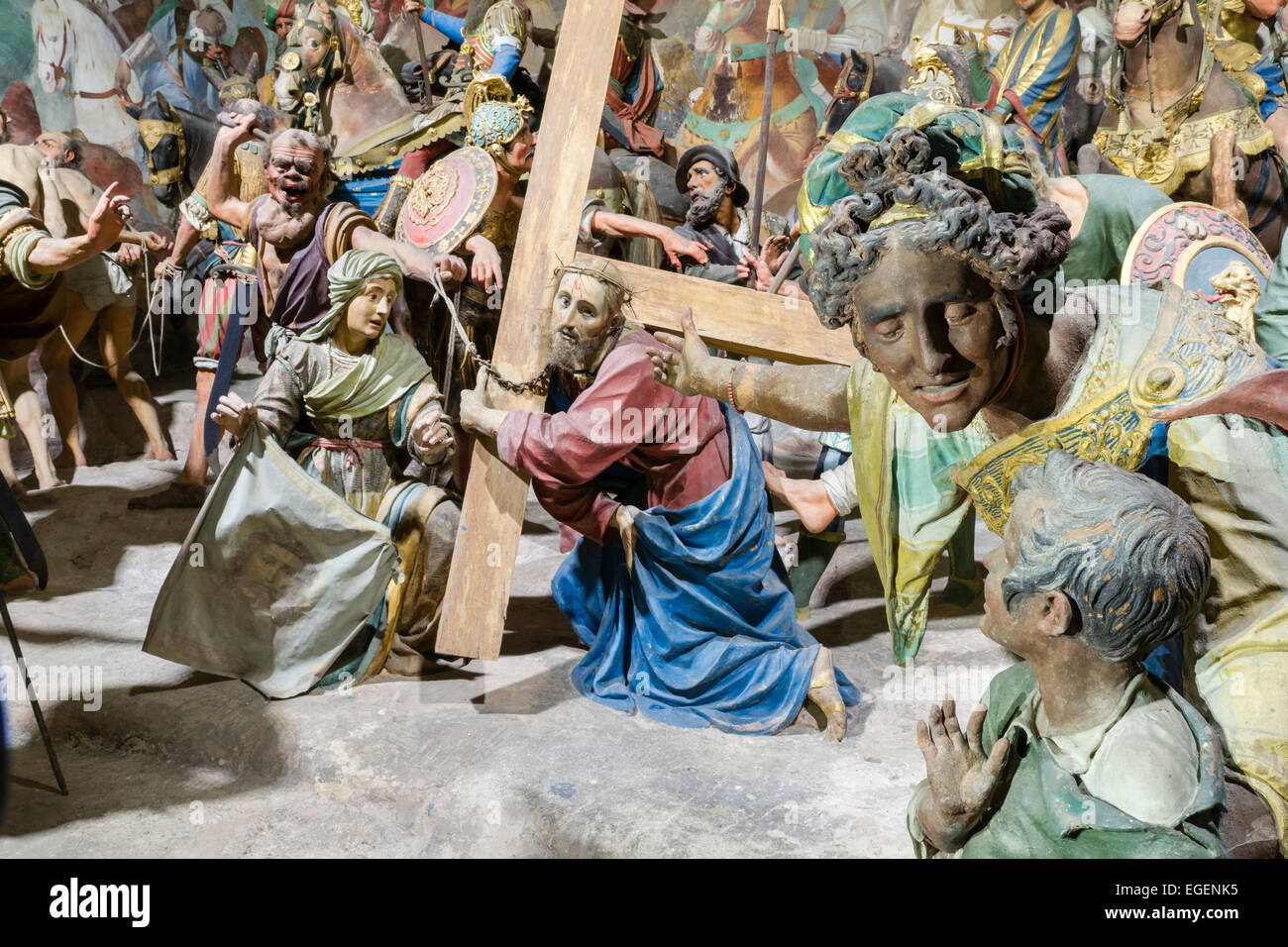 Chapel 36, Jesus carrying the cross, Veil of Veronica, circa 1599, life-size statues by Giovanni Tabacchetti and - Stock Image