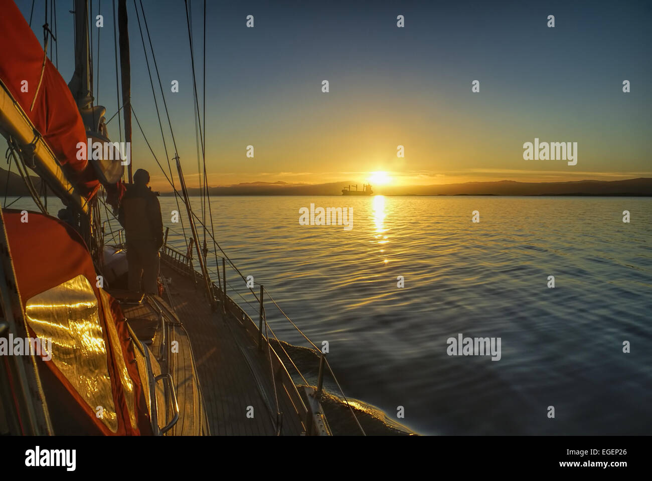Scenic sunrise viewed from yacht over the coast of Chile in South America Stock Photo