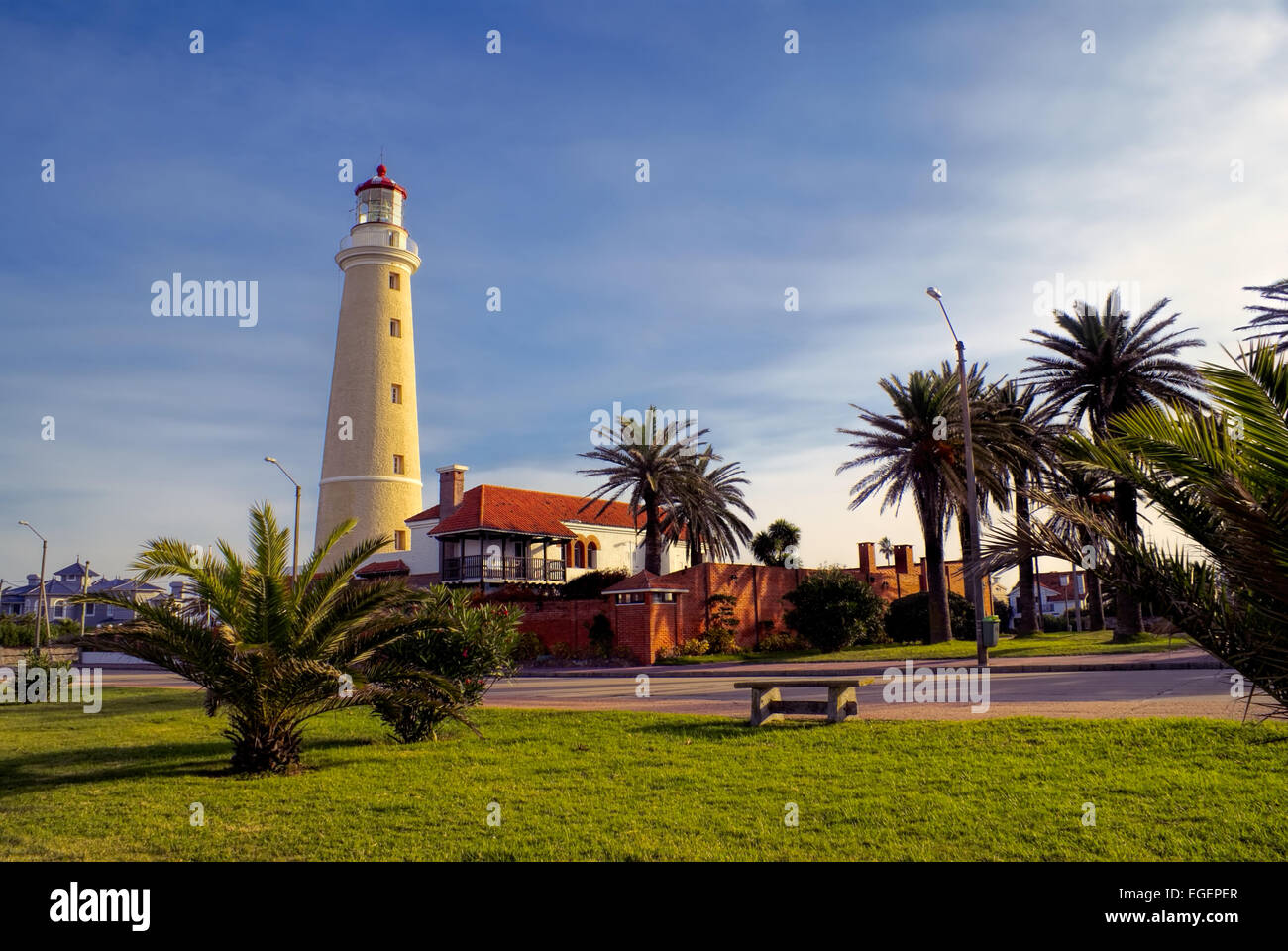 Picturesque view of a promenade at sunset in Punta del Este Stock Photo