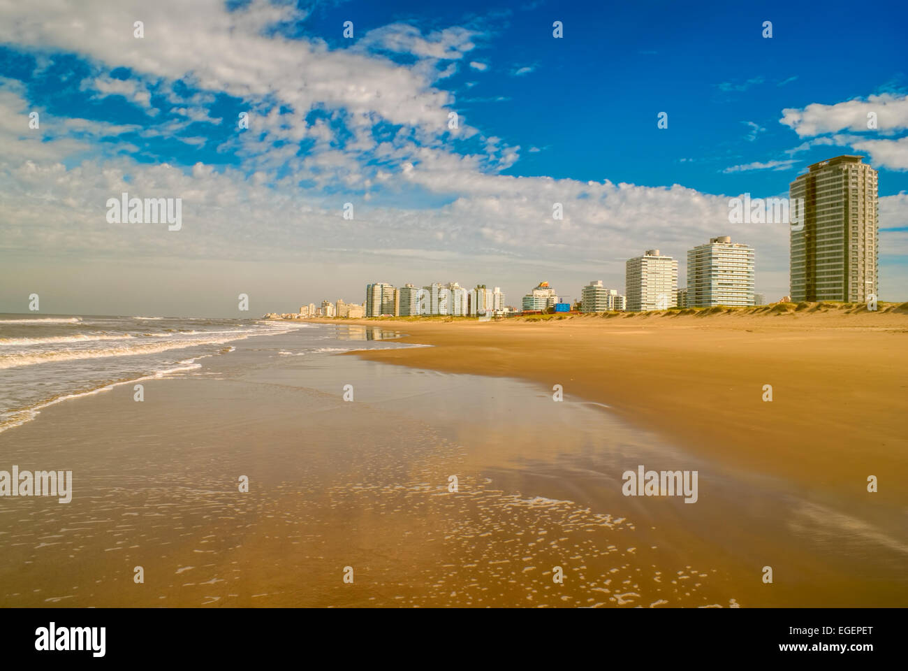 Panoramic view of a sandy beach in Punta del Este Stock Photo