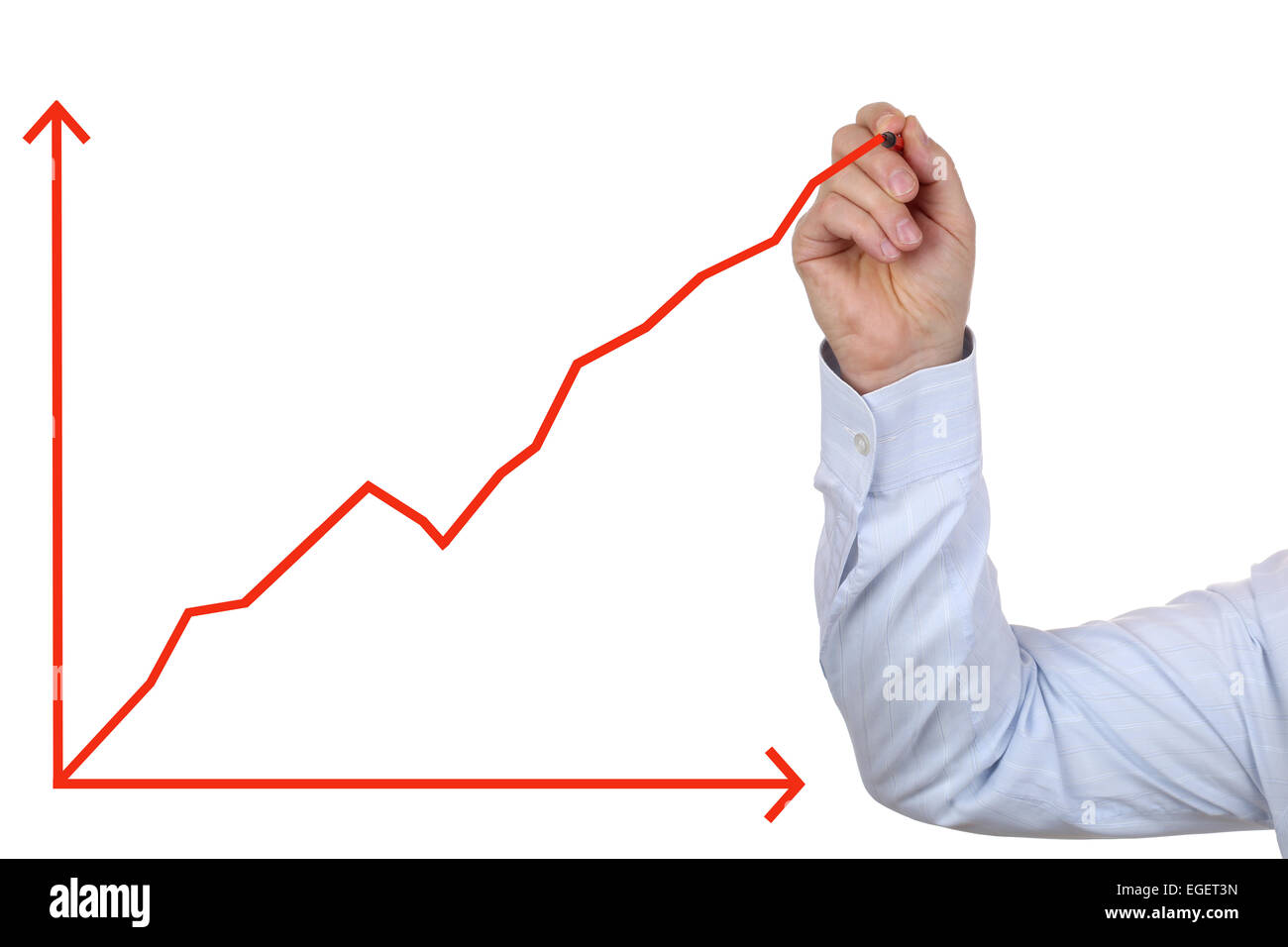 Successful business man drawing a success growth chart - Stock Image