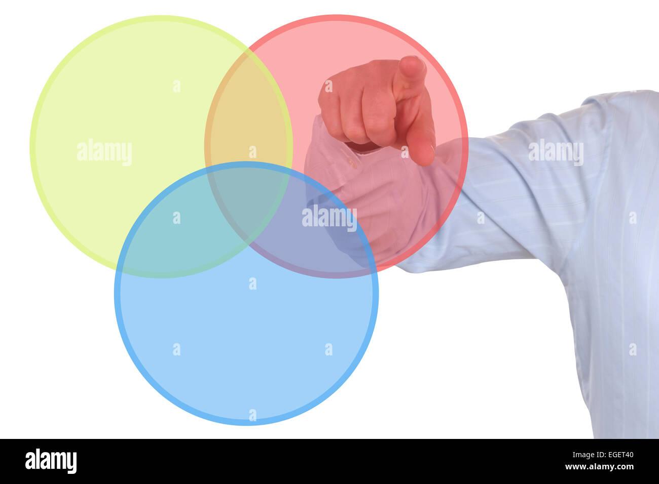 Businessman showing a business concept diagram chart - Stock Image