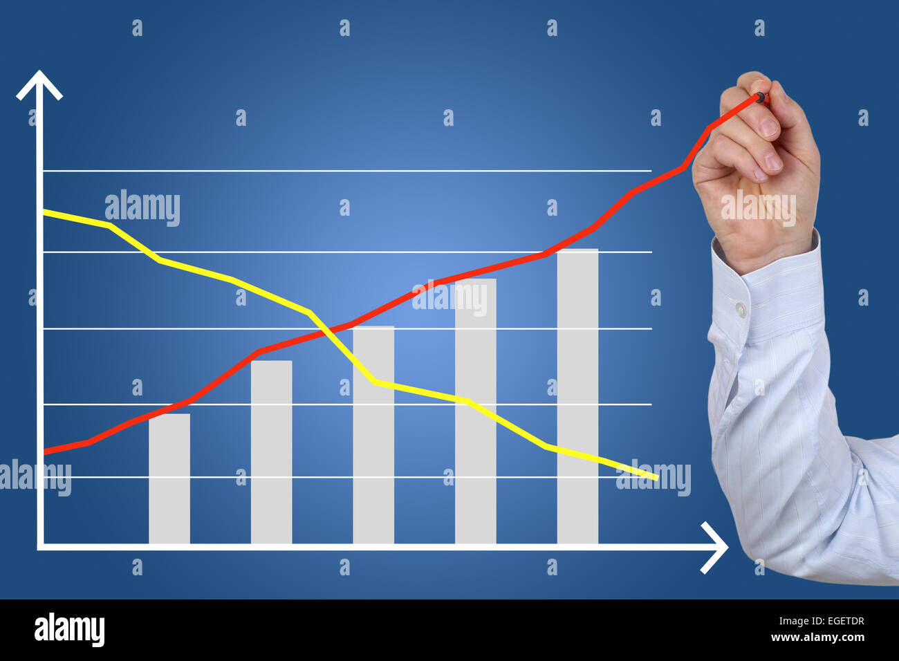 Businessman drawing a business concept cost success growth chart - Stock Image