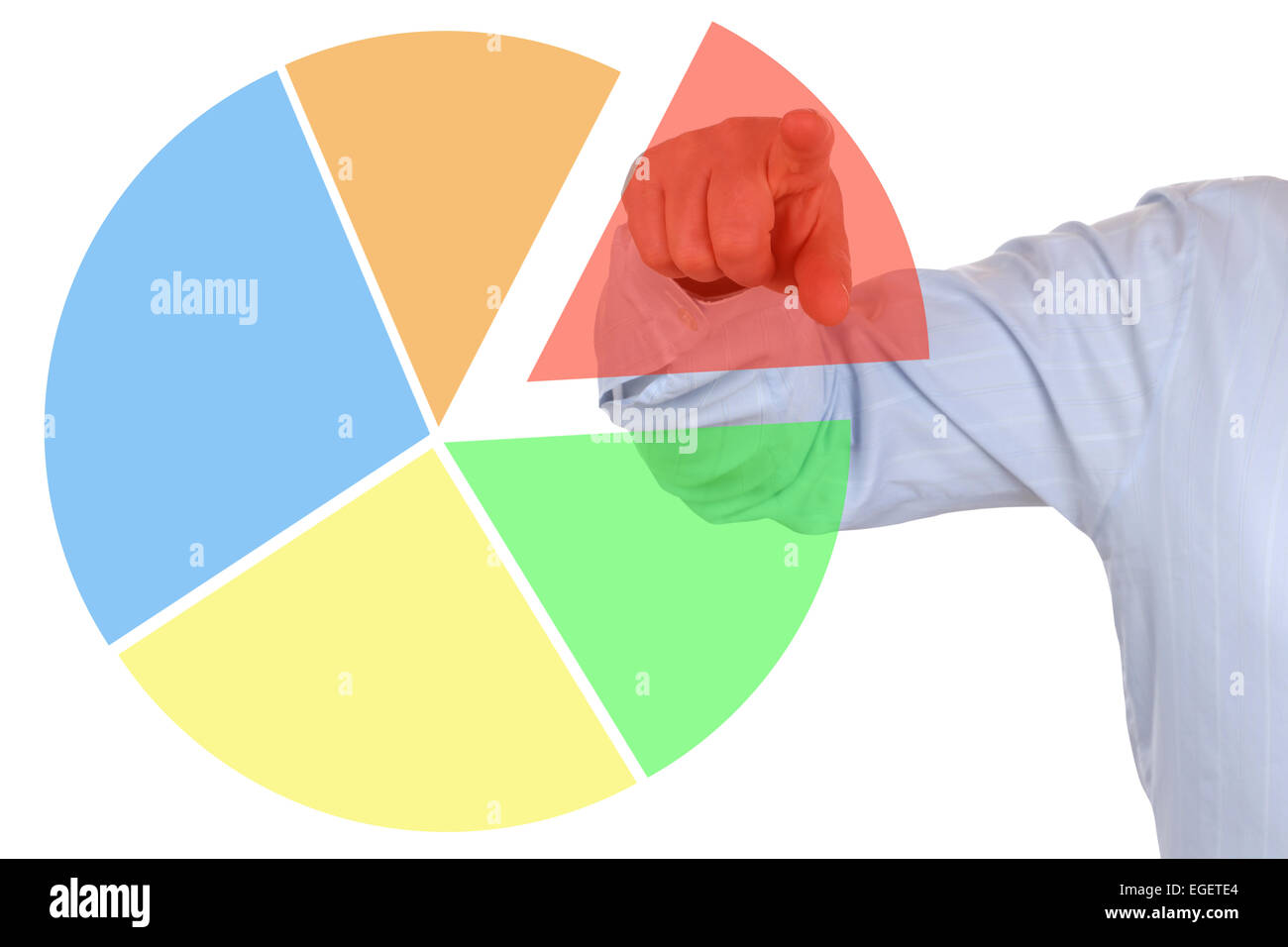 Presentation of a business concept financial statistics pie chart diagram - Stock Image
