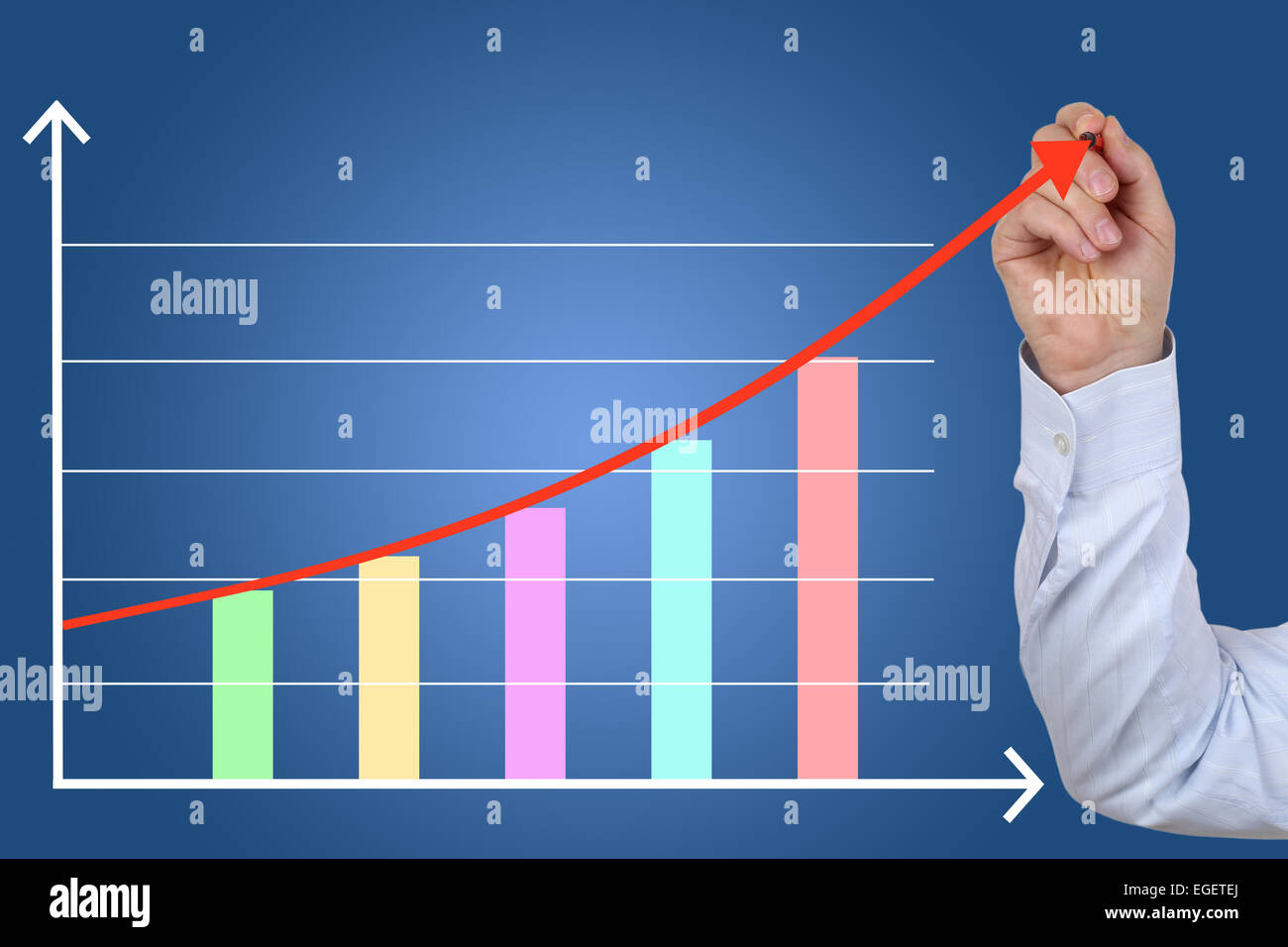 Businessman drawing a business concept finance success growth chart - Stock Image