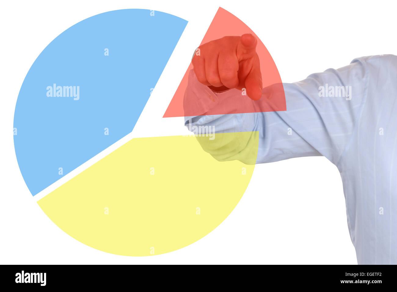 Businessman showing a business concept statistics pie chart diagram - Stock Image