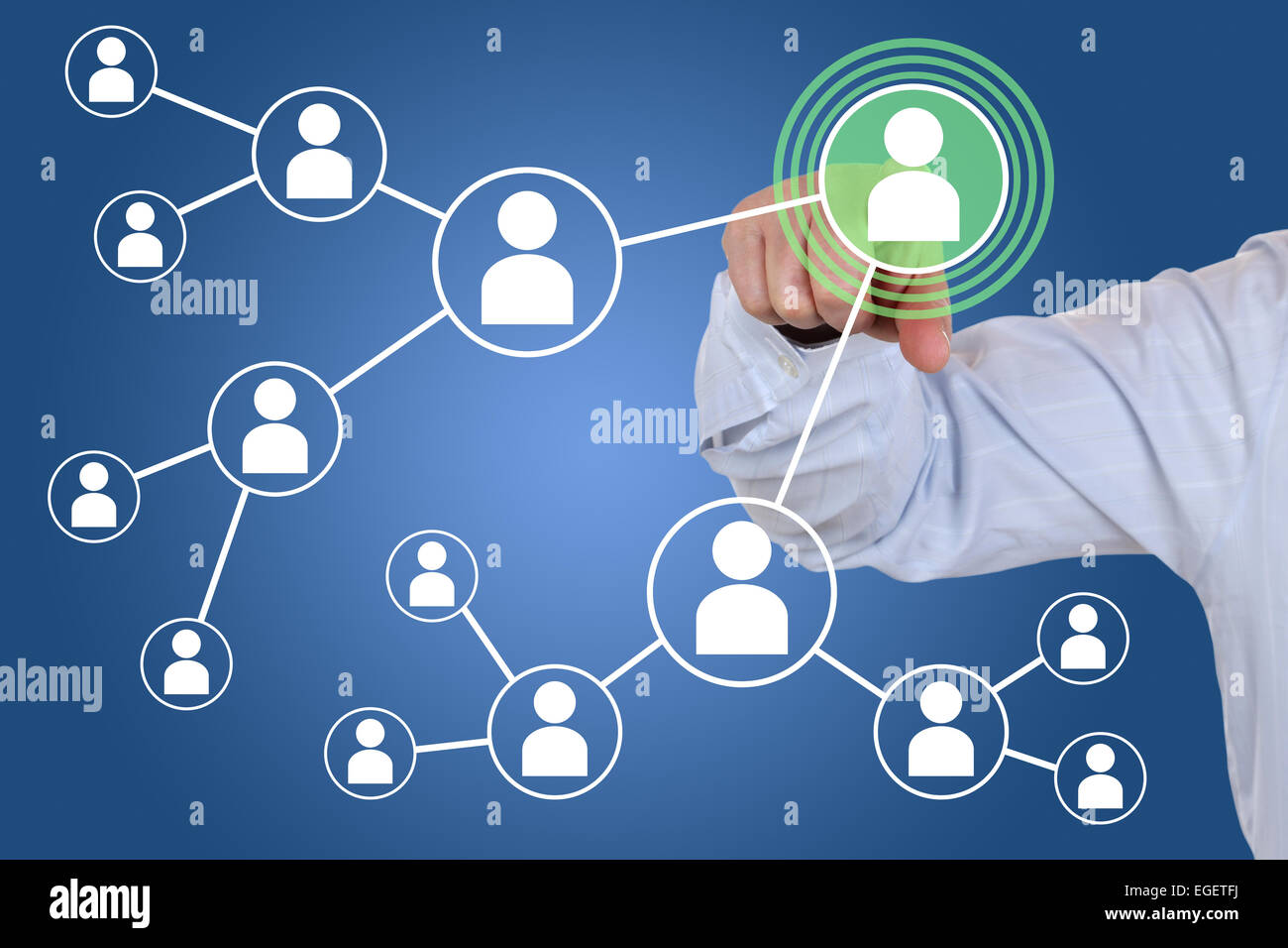 Businessman pressing relations and contacts in social network - Stock Image