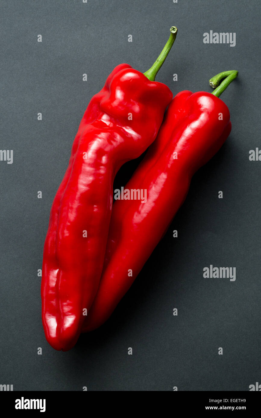 the red pepper on black background - Stock Image
