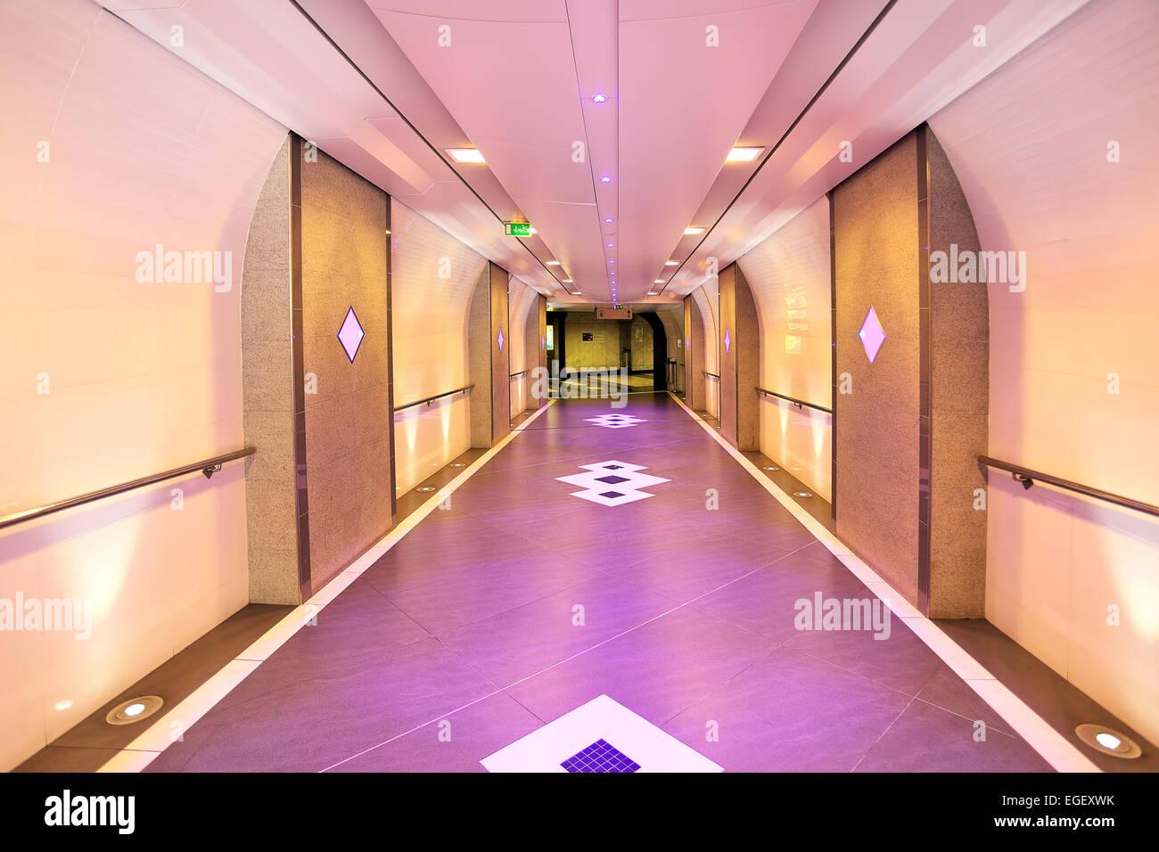 Interior view of modern urban underground pedestrian passage in Monte Carlo, Monaco. - Stock Image