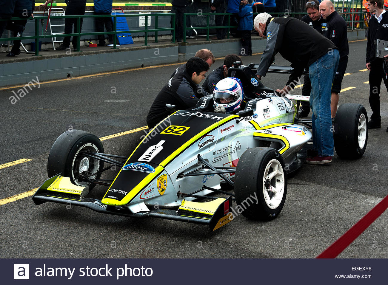 A Driver In An M S A Formula Ford Car In The Pit Lane Getting Ready