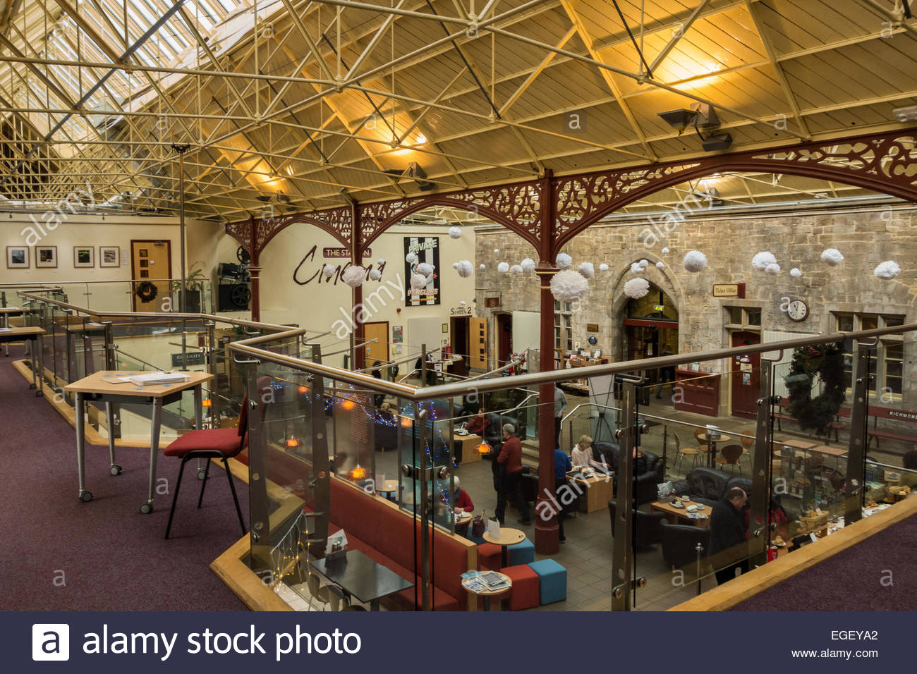 Interior of The Station, a converted railway station in Richmond, North Yorkshire, England. - Stock Image