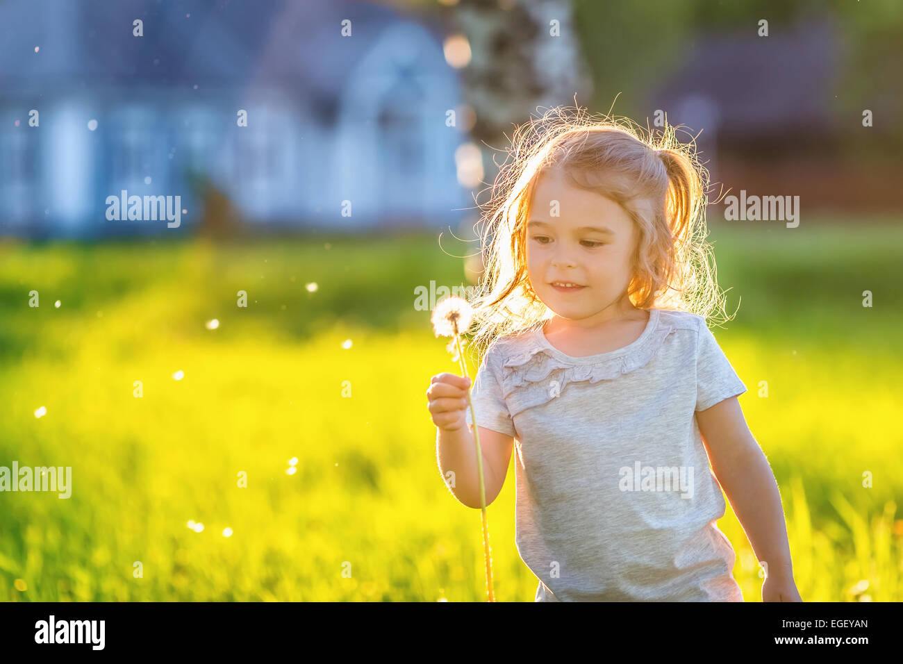 Little girl in spring sunny park - Stock Image