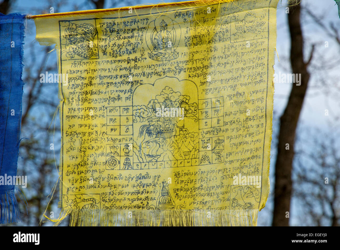 Tibetan Prayer Flags With Ancient Buddhism Symbols And Prayers Stock