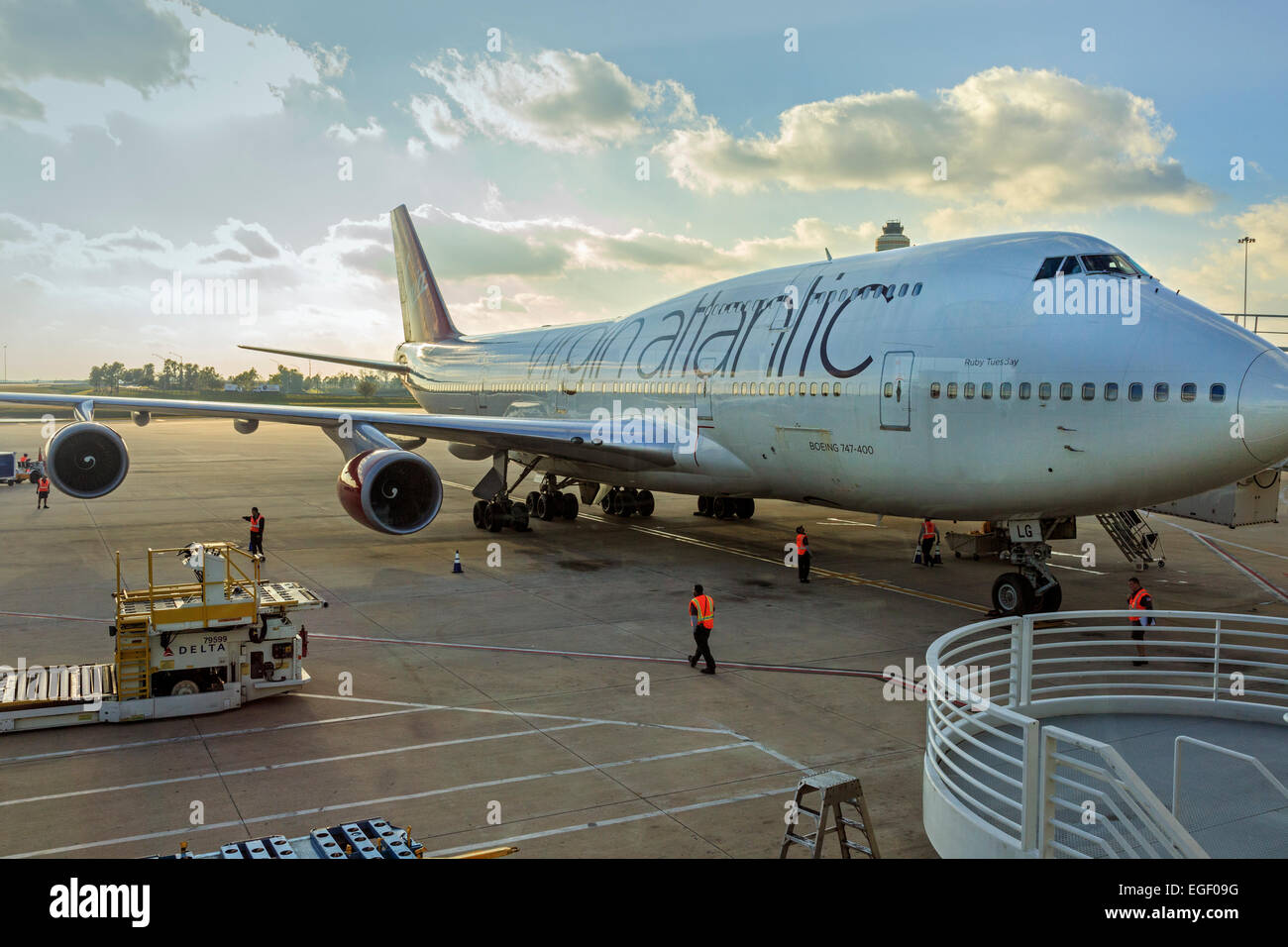 Virgin Atlantic Boeing 747 being loaded at Orlando Airport, Florida, America - Stock Image