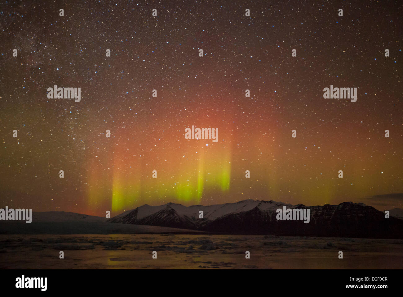 Aurora borealis or Northern Lights Jokulsarlon Iceland Europe - Stock Image