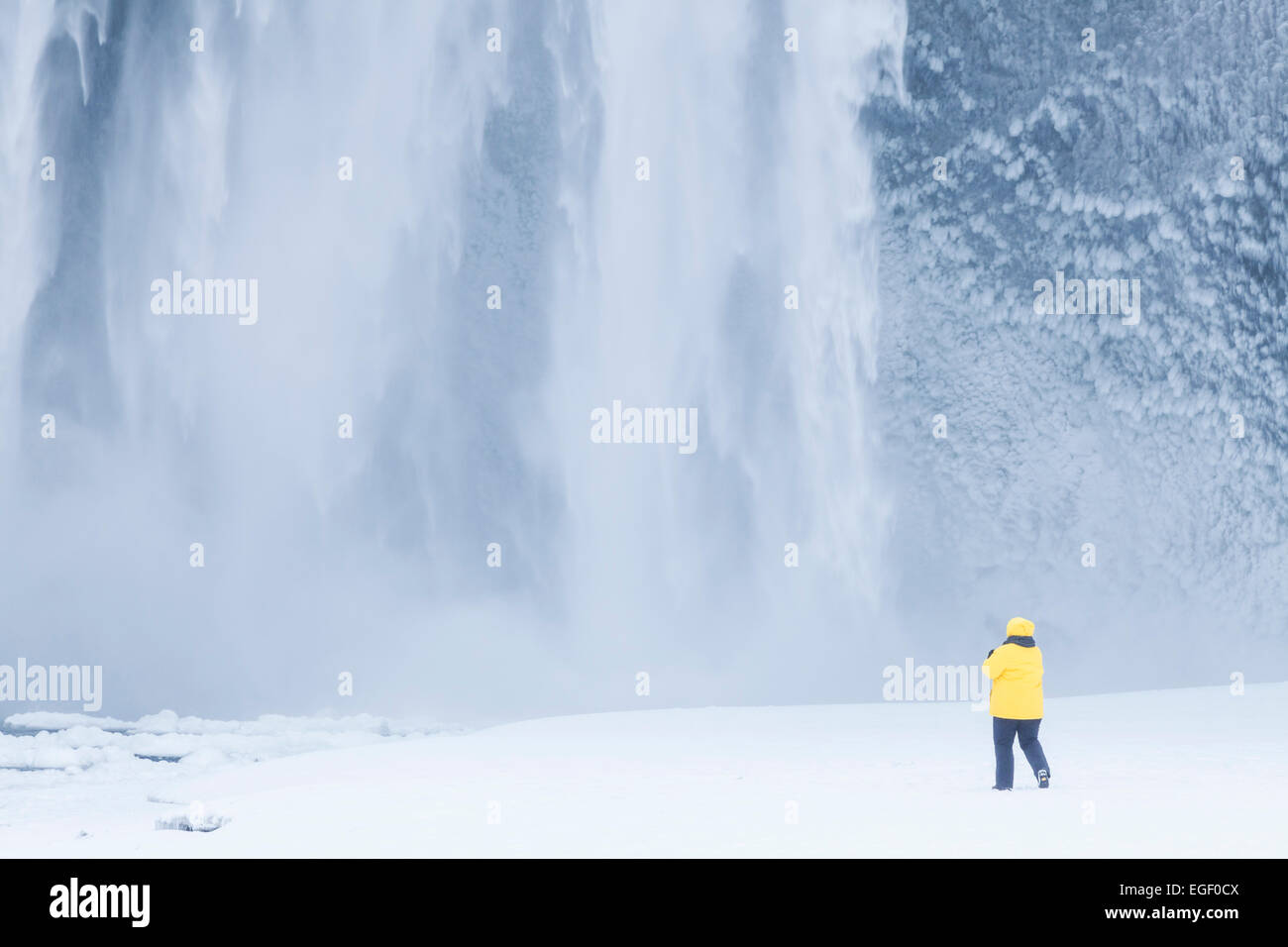 woman Tourist in yellow jacket at Skogafoss waterfall in winter Skogar South Iceland Iceland Europe - Stock Image