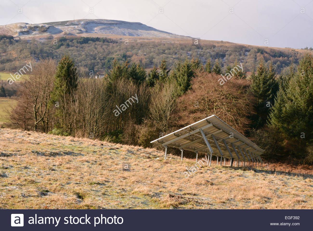 Solar panel in field - Scotland - Stock Image
