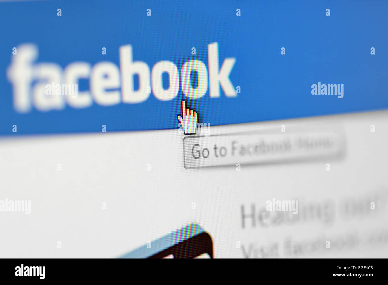 Galati, Romania, february 24, 2015: Close-up image of  Facebook Home page on Laptop Screen - Stock Image