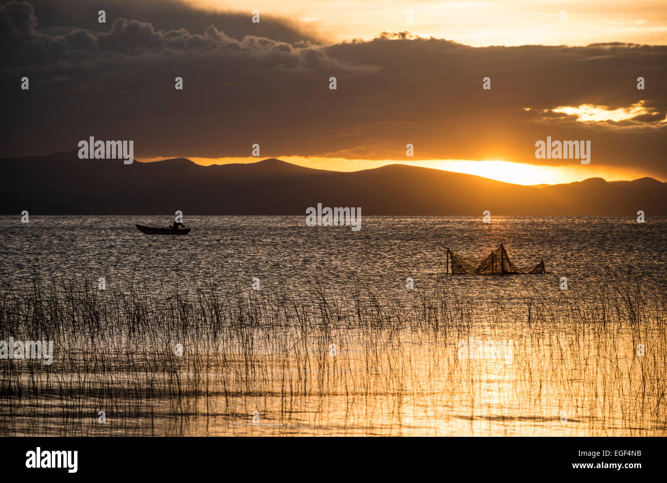 Sunset over Lake Titicaca, Copacabana, Lake Titicaca, Bolivia Stock Photo
