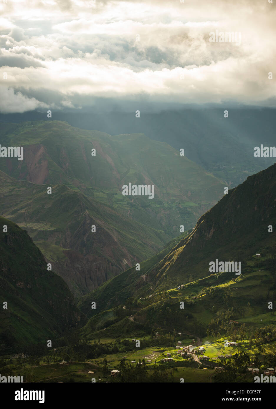 View through valley, Sorata, Cordillera Real, Bolivia - Stock Image