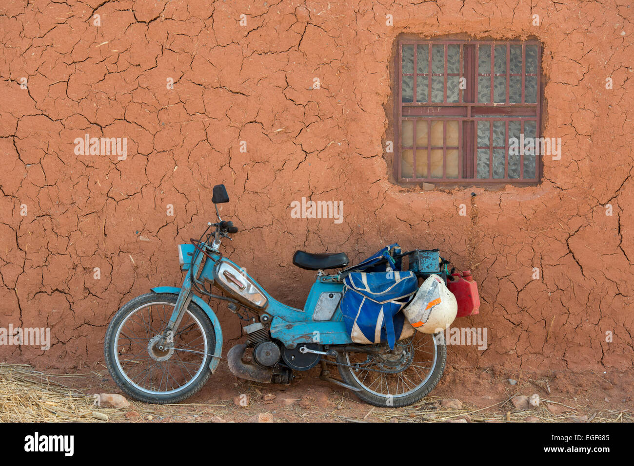 Vintage Motorcycle, Errachidia Province - Stock Image