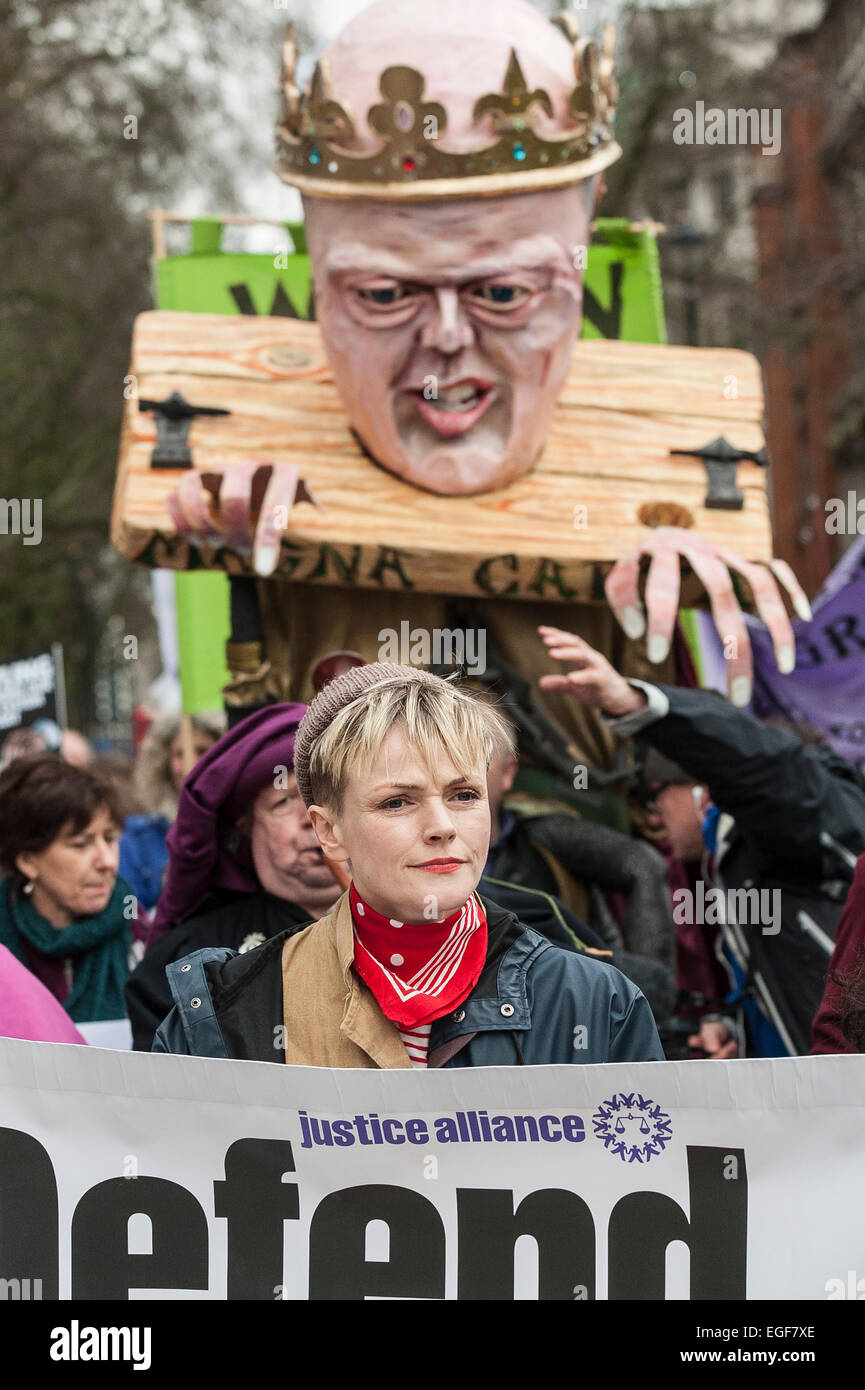 A huge effigy of Chris Grayling dressed as King John at a protest march led by actor  and star of tv drama Silk, - Stock Image