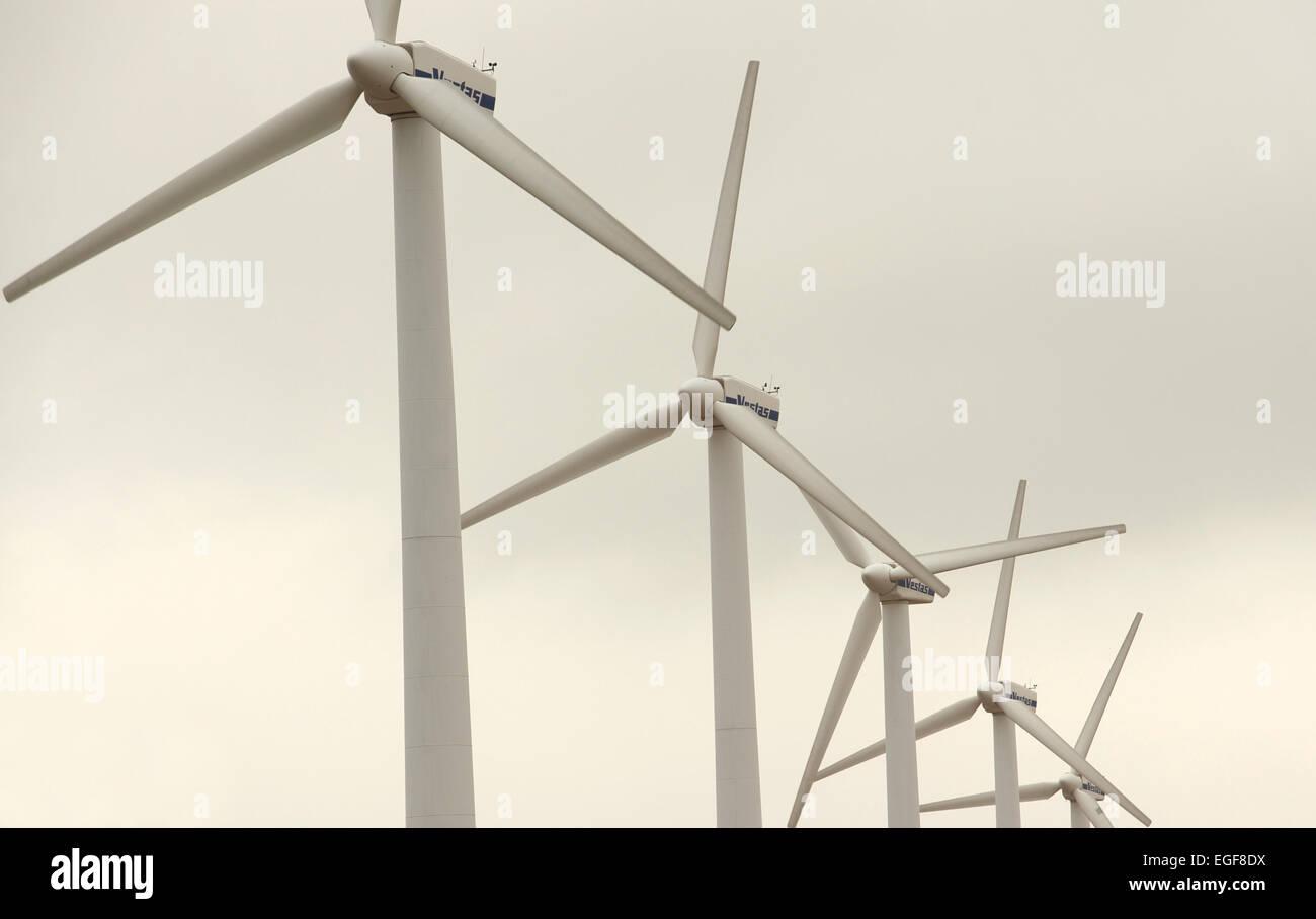 Inland windfarm, Norfolk, UK. - Stock Image